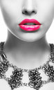 Emphasis. Black & White Woman's Face with Pink Lips Royalty Free Stock Photo