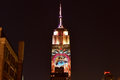 Empire state building racing extinction new york city august endangered animals projected onto south side of the in new york city Stock Image