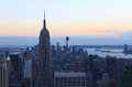 Empire state building in twiligh new york city twilight with Stock Photo
