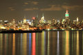 Empire state nyc skyline at night on indian independence day displaying tri color the eve of Royalty Free Stock Photography