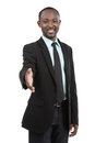 Employee african descent confident smiling american businessman in a black suit Royalty Free Stock Image