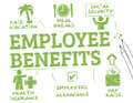 Employee benefits chart with keywords and icons Stock Photo