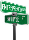 Employee entrepreneur business decision sign change career directions street direction signs Royalty Free Stock Photo