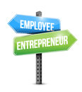 Employee entrepreneur road sign illustration design over white Stock Images