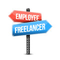 Employee or freelancer road sign illustration design over white Royalty Free Stock Image
