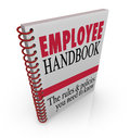 Employee handbook rules policies follow at work guidelines words on a book cover to illustrate code of conduct or other important Royalty Free Stock Images