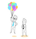 Employee holding a balloons cartoon mean promotion Royalty Free Stock Photos