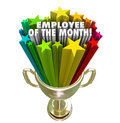 Employee of the month gold trophy award top performer recognitio words and colorful stars in a golden awarded to performing worker Stock Image