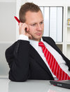 Employee with no desire to work lazy businessman on workplace Stock Photo