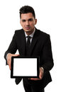 Employee showing an empty tablet Royalty Free Stock Image