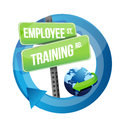 Employee training road sign illustration design over white Royalty Free Stock Photos