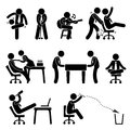 Employee worker office fun pictogram a set of representing having at workplace Stock Images
