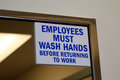 Employees Must Wash Hands Royalty Free Stock Photo