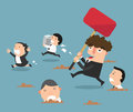 The employees running away from their bad boss.illustration