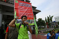 Employees on strike electricity company demanding higher wages in the city of solo central java indonesia Stock Images