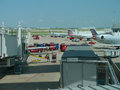 Dallas Fort Worth Airport, workers loading planes Royalty Free Stock Photo