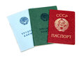 Employment history books and soviet passport isolated on white background Stock Photo
