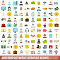 100 employment service icons set, flat style