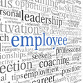 Emplyee concept in word tag cloud and recruitment on white Royalty Free Stock Photography