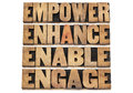 Empower enhance enable and engage motivational business concept a collage of isolated words in letterpress wood type Stock Images