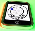 Empower smartphone means provide tools meaning and encouragement Royalty Free Stock Image