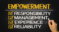 Empowerment concept responsibility management experience reliab reliability on blackboard Royalty Free Stock Photos
