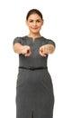 Empresaria hermosa pointing at you Imagen de archivo libre de regalías