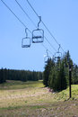 Emptiness in the ski area empty lift seats alpine summer landscape Stock Images