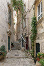 Empty alley and stairs at Dubrovnik's Old Town Royalty Free Stock Photo