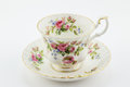 Empty antique cup and saucer with rose decoration isolated on wh Royalty Free Stock Photo