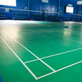 Empty badminton court for the competing Royalty Free Stock Photo