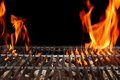 Empty Barbecue Grill With Bright Flames Closeup Royalty Free Stock Photo