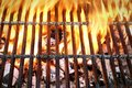 Empty Barbecue Grill With Bright Flames Closeup  Top View Royalty Free Stock Photo