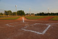 Empty Baseball Field at Dusk Royalty Free Stock Photo