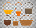 Empty baskets on transparent background