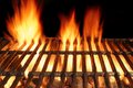Empty BBQ Cast Iron Hot Grill With Burning Charcoal Fire Royalty Free Stock Photo
