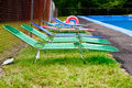 Empty beach chairs Royalty Free Stock Photography