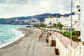 Empty beach. Nerja, Spain Royalty Free Stock Photo
