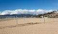 Empty beach volleyball courts Santa Monica Stock Photos