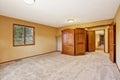 Empty bedroom interior in soft peach Royalty Free Stock Photo