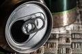 Empty beer can top opening closeup Stock Photos