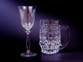 Empty beer mug wine glass black Stock Photography