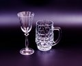 Empty beer mug wine glass black Royalty Free Stock Photos