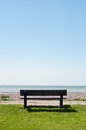 Empty Bench Facing Sea Stock Photos