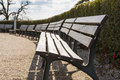 Empty Bench Row Bushes Sky Park Open Skies Blue Sunny Day Beauti Royalty Free Stock Photo