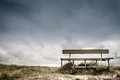 Empty bench wooden in cloudy weather Stock Photo