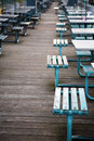 Empty benches and tables Royalty Free Stock Photos