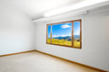 Empty big room with a beautiful landscape view Stock Photo