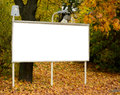 Empty billboard in autumn forest this image represents Stock Image