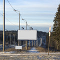 Empty billboards in winter city billboard near road Royalty Free Stock Photos